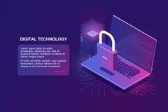 Bärbar dator med låset, isometrisk symbol för datorsäkerhet, dataskydd, säkerhet i internet, personlig information om skydd vektor illustrationer