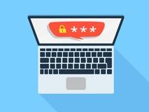 Bärbar dator med lösenord royaltyfri illustrationer