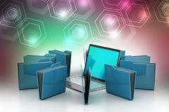 Bärbar dator med mappmappen Fotografering för Bildbyråer