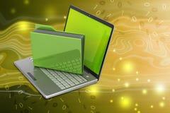 Bärbar dator med mappmappen Arkivfoto