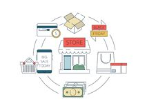 Bärbar dator med markisen Säker betalning på rengöringsduken som förbi shoppar på smartphoneappPC:n som köper begrepp för kommers stock illustrationer