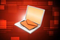 Bärbar dator med mejl Arkivfoto