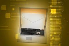 Bärbar dator med mejl Royaltyfri Foto