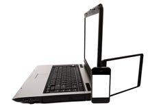 Bärbar dator med minnestavlan och mobiltelefonen Fotografering för Bildbyråer