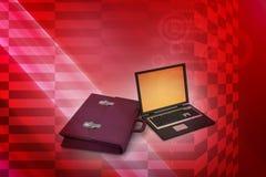 Bärbar dator med påsen Arkivfoton