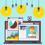 Bärbar dator med sidor av websiten i webbläsare stock illustrationer
