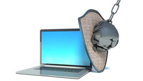 Bärbar dator med skölden - internetsäkerhet Arkivbild