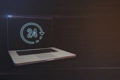 Bärbar dator med 24 timmar symbol Arkivbild