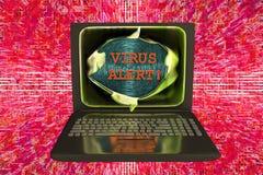 Bärbar dator med virusvarningsord Fotografering för Bildbyråer