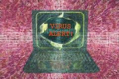Bärbar dator med virusvarningsord Royaltyfria Foton
