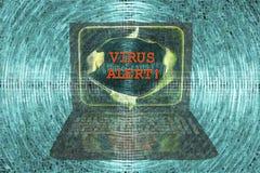 Bärbar dator med virusvarningsord Arkivfoton