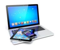 Bärbar dator, minnestavlaPC och smartphone Royaltyfria Bilder