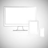 Bärbar dator, mobiltelefon och minnestavla som är elektroniska Arkivbilder