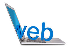 Bärbar dator och 3d www Royaltyfri Foto