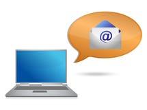 Bärbar dator- och e-postmeddelande Arkivfoto