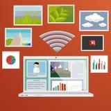 Bärbar dator och internet Fotografering för Bildbyråer