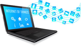 Bärbar dator och internet av sakerbegreppet Royaltyfri Foto
