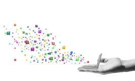 Bärbar dator och massmedialager som direktanslutet shoppar Royaltyfri Fotografi