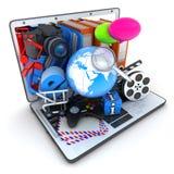 Bärbar dator och multimedior Arkivbild