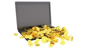 Bärbar dator och myntar Royaltyfri Foto