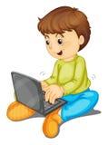Bärbar dator och pojke stock illustrationer