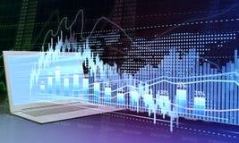 Bärbar dator och statist för affärsdiagram Arkivfoton