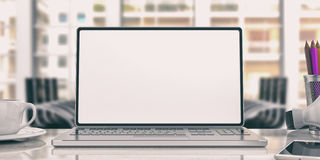 Bärbar dator på ett kontorsskrivbord illustration 3d stock illustrationer