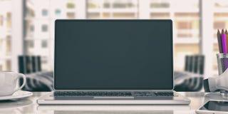 Bärbar dator på ett kontorsskrivbord illustration 3d Arkivbild