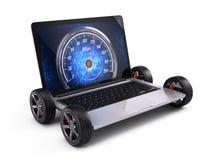 Bärbar dator på hjul med nätverkshastighetsmätaren - conncectionbegrepp för snabb internet vektor illustrationer