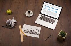 Bärbar dator på träskrivbordet med kontorssuplies Royaltyfri Foto
