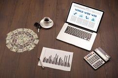 Bärbar dator på träskrivbordet med kontorssuplies Royaltyfria Foton