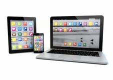 Bärbar dator, smatrptelefon och minnestavlaPC Royaltyfri Fotografi