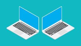 Bärbar dator som är isometrisk med den lämnade vinkeln för blå skärm och rätt stock illustrationer