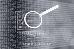 Bärbar dator som analyseras av förstoringsglaset, antivirusbildläsning (framsteglodisar royaltyfria foton