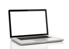 Bärbar dator som macbook med den tomma skärmen Royaltyfria Bilder