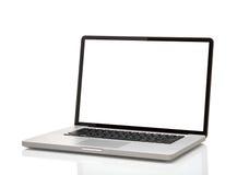 Bärbar dator som macbook med den tomma skärmen Royaltyfri Foto