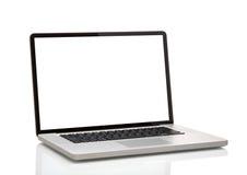 Bärbar dator som macbook med den tomma skärmen Royaltyfri Bild