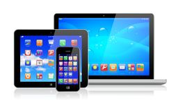 Bärbar dator, tabletPC och smartphone Arkivbilder