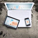 Bärbar dator, tabletPC och smartphone Arkivbild