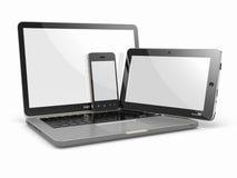 Bärbar dator-, telefon- och tabletPC. Elektroniska apparater Royaltyfria Foton