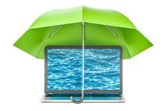 Bärbar dator under paraply-, säkerhets- och skyddsbegrepp rende 3D Royaltyfri Bild
