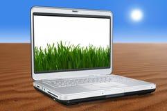 Bärbar datordator med grönt gräs fotografering för bildbyråer