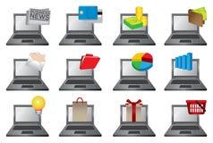 Bärbar datordator med symbolsvektorillustrationen Arkivfoto