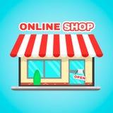 Bärbar datordatoren shoppar direktanslutet den plana symbolsillustrationen för vektorn E-kommers digital marknad, online-köp, onl stock illustrationer