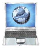 Bärbar datorjordklotbegrepp Fotografering för Bildbyråer