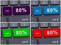 Bärbar datorknapp med 80% som avfärdar Fotografering för Bildbyråer