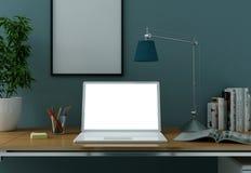 Bärbar datormodellen med den vita skärmen står på kontorsskrivbordet vektor illustrationer