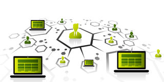 Bärbar datornätverk royaltyfri illustrationer