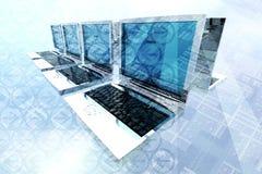 bärbar datornätverk Arkivfoto