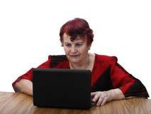 bärbar datorpensionärkvinna royaltyfri foto